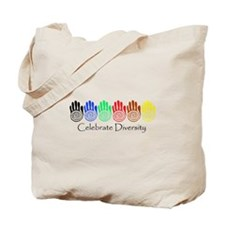 Celebrate Diversity Rainbow Hands Tote Bag