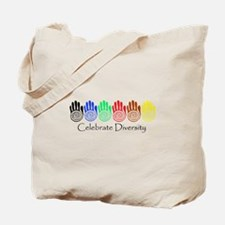 Celebrate Diversity Rainbow Hands Tote Bag