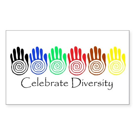 Celebrate Diversity Rainbow Hands Sticker (Rectang