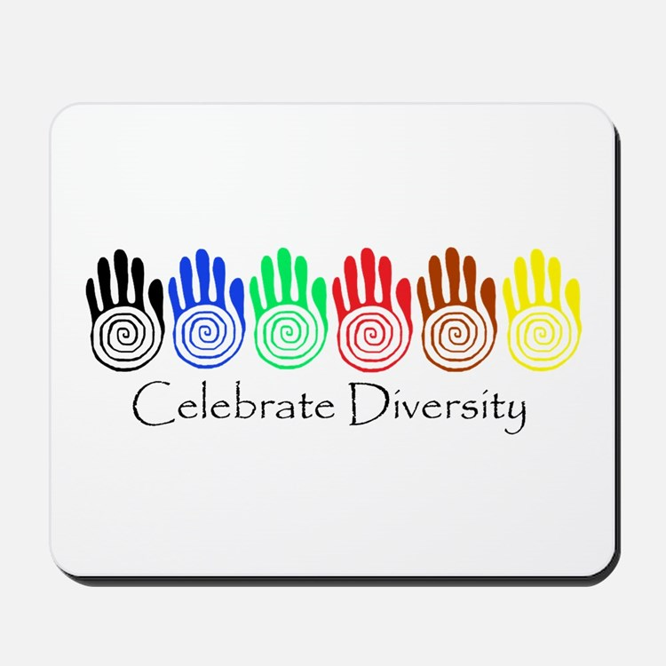 Celebrate Diversity Rainbow Hands Mousepad