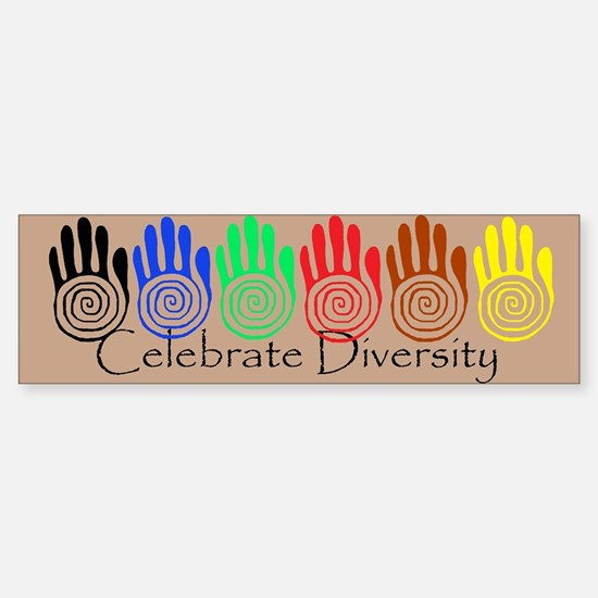Celebrate Diversity Rainbow Hands Bumper Car Car Sticker