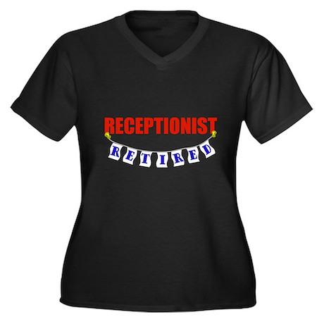 Retired Receptionist Women's Plus Size V-Neck Dark