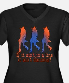 Line Dancing Women's Plus Size V-Neck Dark T-Shirt