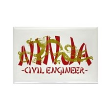 Dragon Ninja Civil Engineer Rectangle Magnet