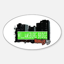 WILLIAMSBURG BRIDGE, BROOKLYN, NYC Oval Decal