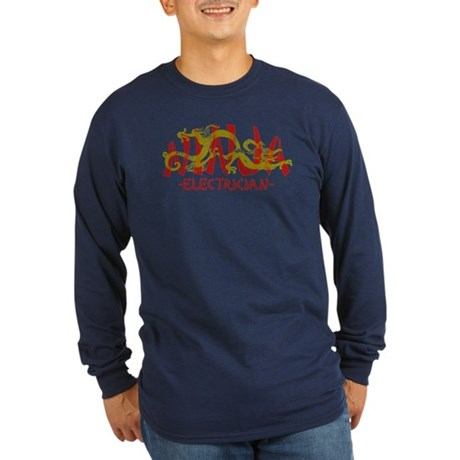 Dragon Ninja Electrician Long Sleeve Dark T-Shirt
