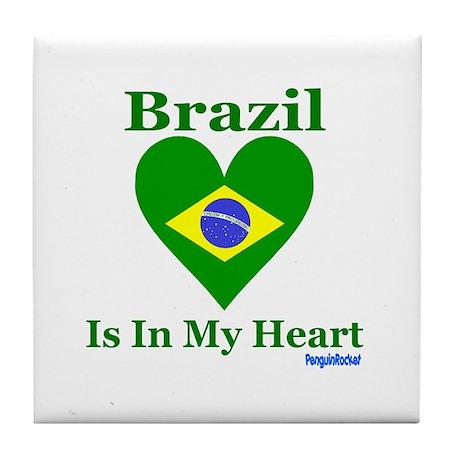 Brazil - Heart Tile Coaster