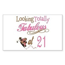 Fabulous 21st Rectangle Decal