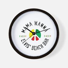 Round Elvis' Mama Wanna Logo Wall Clock