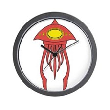 Alien Squid Red Wall Clock