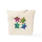 Multi Painted Turtles Tote Bag