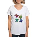 Multi Painted Turtles Women's V-Neck T-Shirt