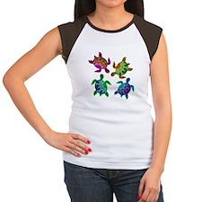 Multi Painted Turtles Women's Cap Sleeve T-Shirt