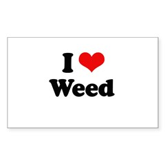 I love weed Rectangle Sticker 50 pk)