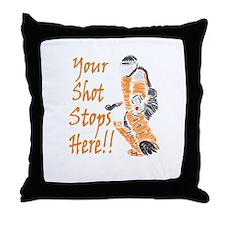 Hockey Goalie - Orange Throw Pillow