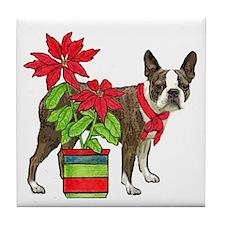 Boston terrier Christmas2 Tile Coaster