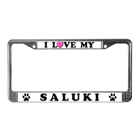I Love My Saluki License Plate Frame