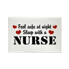 Feel Safe Sleep with a Nurse Rectangle Magnet