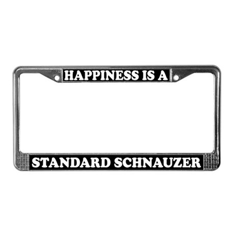 Happiness Standard Schnauzer License Plate Frame