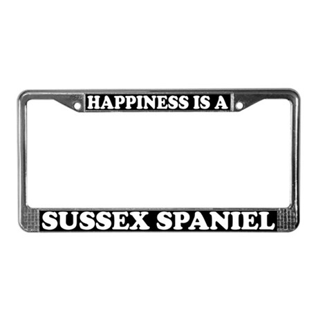 Happiness Is A Sussex Spaniel License Plate Frame