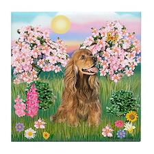 Blossoms / Cocker (brn) Tile Coaster
