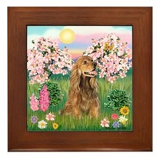 Blossoms / Cocker (brn) Framed Tile