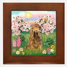 Blossoms / Cocker (brn) Framed Tile
