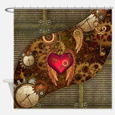Steampunk, heart with wings, clocks and gears Show