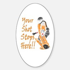 Hockey Goalie - Orange Oval Decal