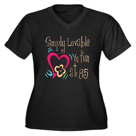 Lovable 85th Women's Plus Size V-Neck Dark T-Shirt