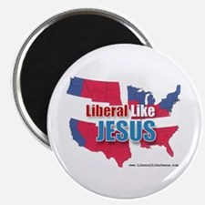 Liberal like Jesus - USA Red Blue Map Magnet