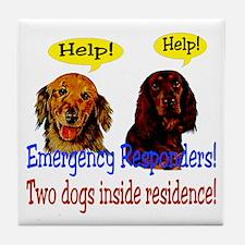 Two Dog Alert Tile Coaster