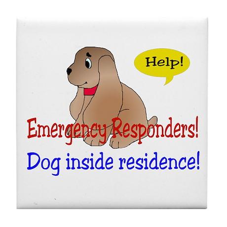 Single Dog Alert Tile Coaster