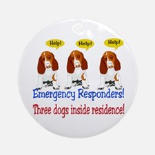 Three Dog Alert Ornament (Round)