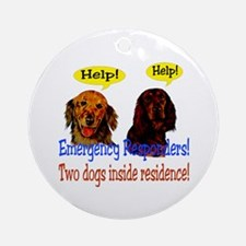 Two Dog Alert Ornament (Round)