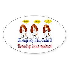 Three Dog Alert Oval Decal
