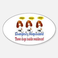 Three Dog Alert Oval Decal