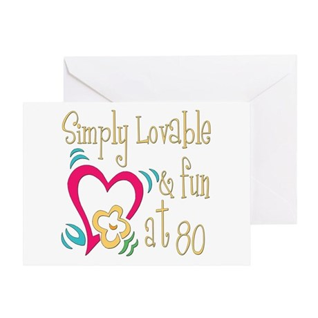 Lovable 80th Greeting Card