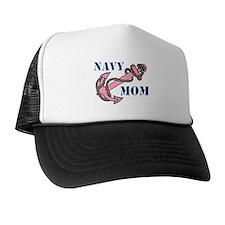 Navy Mom Pink Anchor Trucker Hat