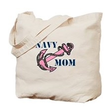 Navy Mom Pink Anchor Tote Bag