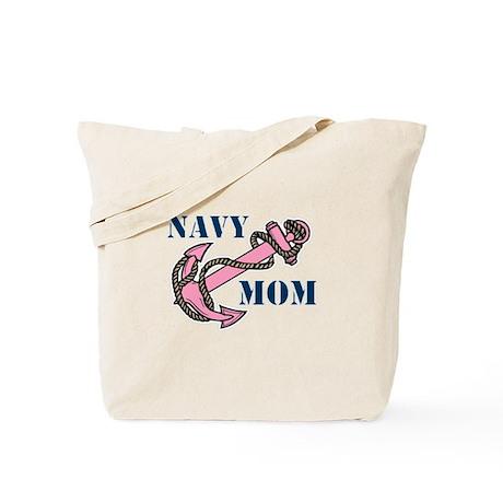 Navy Mom Pink Anchor Tote Bag