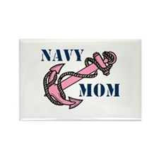 Navy Mom Pink Anchor Rectangle Magnet