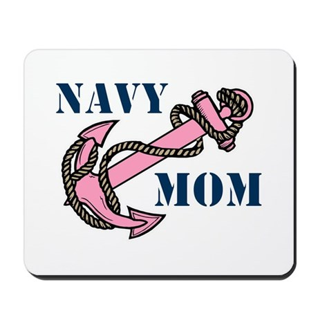 Navy Mom Pink Anchor Mousepad