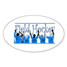 Field Hockey Oval Sticker - Blue