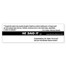 Eric Holder Cowards Bumper Bumper Sticker