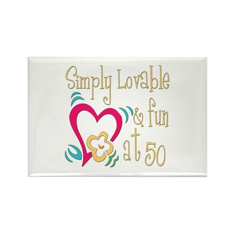 Lovable 50th Rectangle Magnet