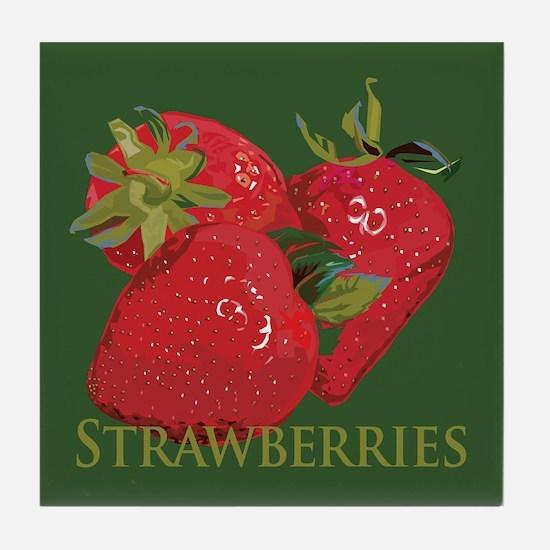 Fresh Summer Strawberries Tile Coaster