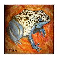Blue Dart Frog Tile Coaster