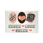 Peace Love Write Writer Rectangle Magnet (10 pack)