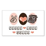 Peace Love Write Writer Rectangle Sticker 50 pk)